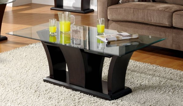 Home Elegance Daisy Cocktail Table with Glass Top HE-710-30