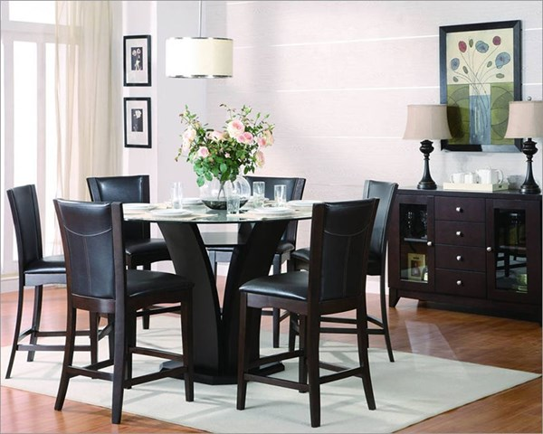 Daisy Espresso Brown Wood 7pc Counter Height Bar Set HE-710-36RD-24-S3