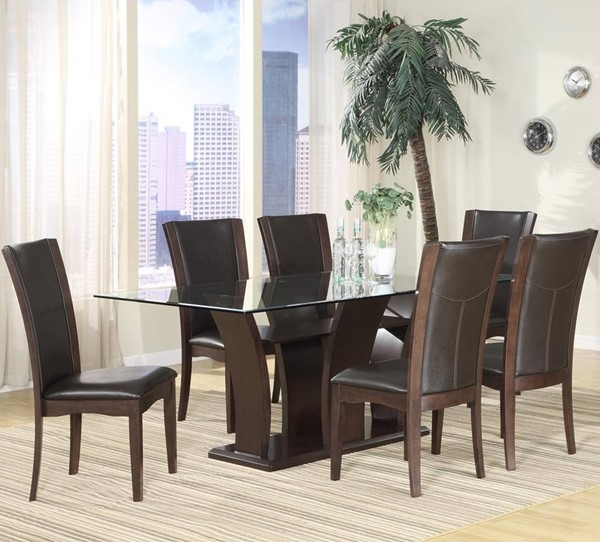 Daisy Espresso Brown Wood 5pc Dining Room Set w/Rectangle Dining Table HE-710-72-10S-S3
