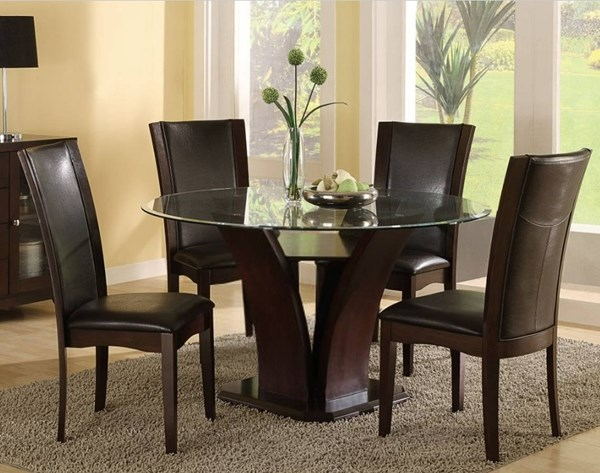 Daisy Espresso Brown Wood 5pc Dining Room Set w/Round Glass Top Table HE-710-54-10S-S1