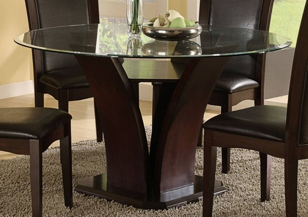 Daisy Traditional Black Espresso Round Glass Top Table HE-710-54
