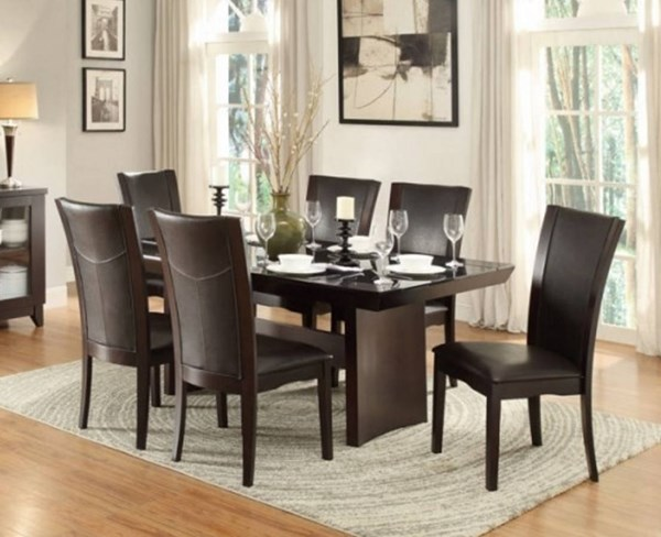 Home Elegance Daisy Brown 7pc Dining Room Set HE-710-72TR-10S-S7