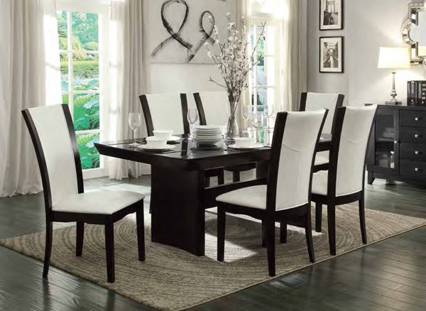 Daisy Espresso Brown White Wood Glass Insert Dining Room Set HE-710-72TR-DR