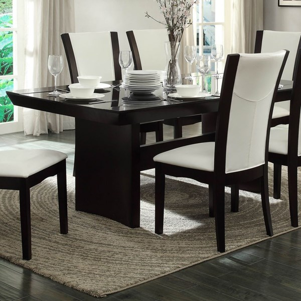 Home Elegance Daisy Espresso Dining Table with Glass Insert HE-710-72TR