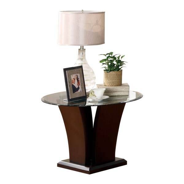 Home Elegance Daisy Round End Table with Glass Top HE-710-04