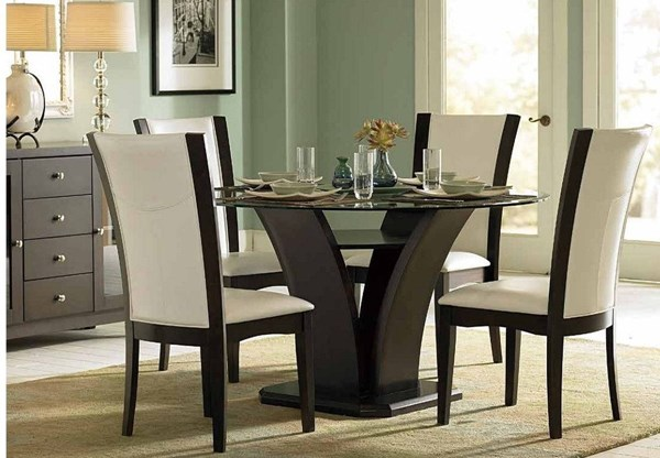 Daisy Espresso White Wood 5pc Dining Room Set w/Round Glass Top Table HE-710-54-10WS-S2