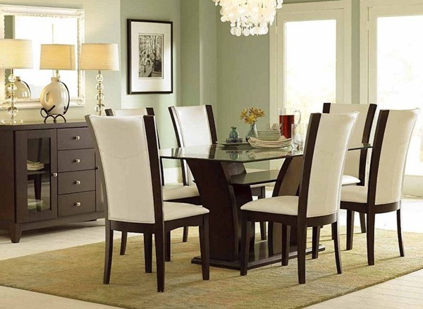 Daisy Espresso Brown White Wood Dining Room Set w/Rectangle Table HE-710-72-DR