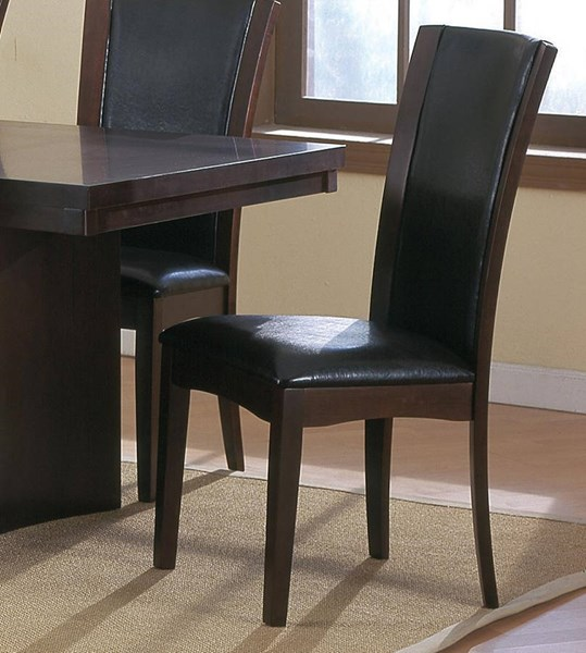 2 Daisy Traditional Espresso Brown White Bi-Cast Vinyl Side Chairs HE-710S-CH-VAR