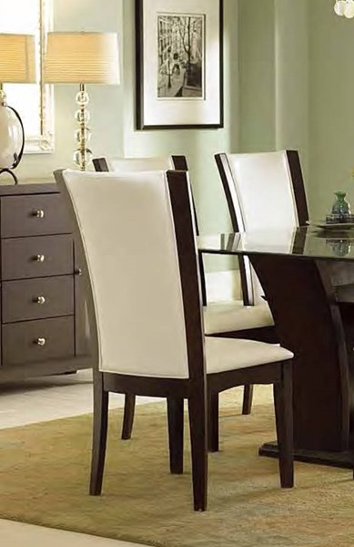 2 Daisy Traditional White Espresso Bi-Cast Vinyl Side Chairs HE-710WS