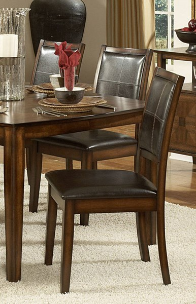 2 Verona Distressed Amber Chocolate Wood Vinyl Side Chairs HE-727S
