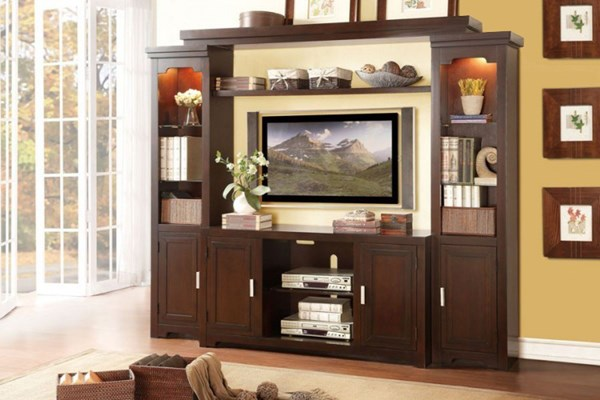 Capitola Warm Espresso Wood Entertainment Center w/54 Inch TV Stand HE-8001