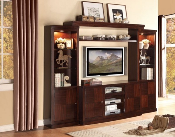 Benecia Espresso Wood Entertainment Center w/60 Inch TV Stand HE-8002
