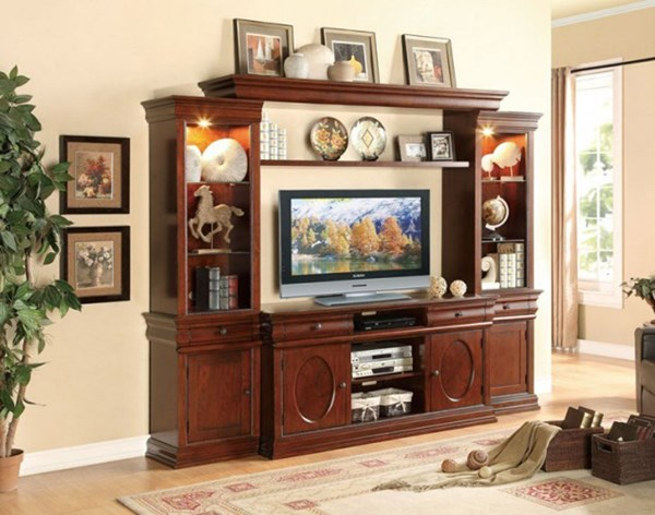 Dunsmuir Traditional Warm Cherry Wood Entertainment Center HE-8003-ENT