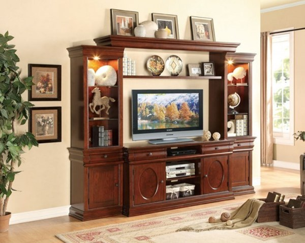 Dunsmuir Warm Cherry Wood Entertainment Center w/60 Inch TV Stand HE-8003