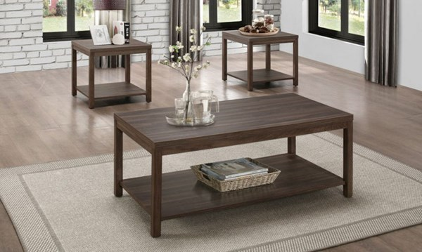 Turia Brown Wood Melamine Top Shelf 3 in 1 Pack Occasional Table HE-8007-31SF