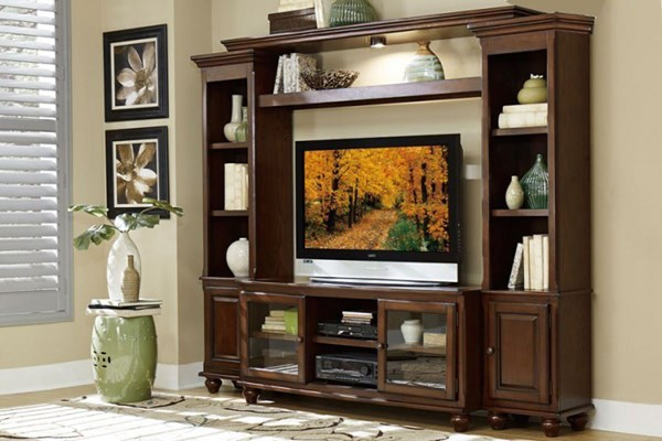 Lenore Transitional Rich Cherry Wood Metal Entertainment Center HE-8014-ENT
