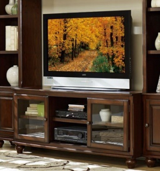 Lenore Transitional Rich Cherry Wood Metal TV Stand HE-8014-T