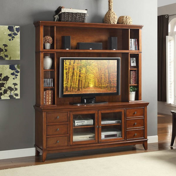 Culbert Transitional Warm Cherry Wood Glass Entertainment Center HE-8018C-ENT