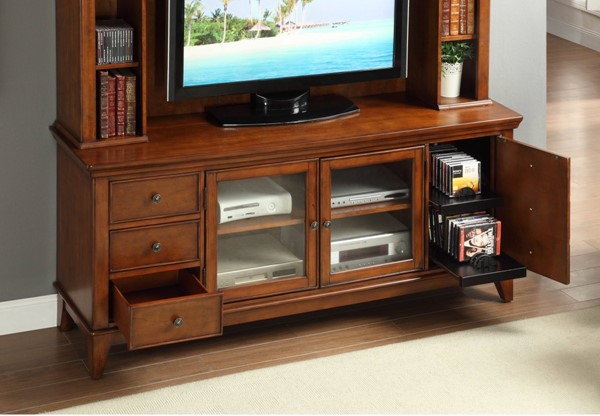 Culbert Transitional Warm Cherry Wood Glass 72 Inch TV Stand HE-8018C-T