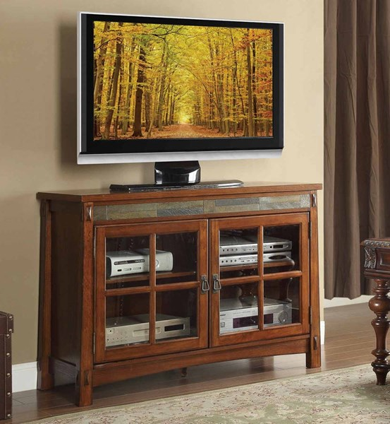 Home Elegance Falls TV Stand with Slate Decor HE-8077-T