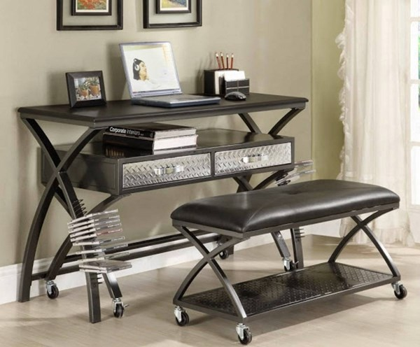 Spaced Out Gray Metal Work Station & Gaming Counsole w/Bench HE-813-15