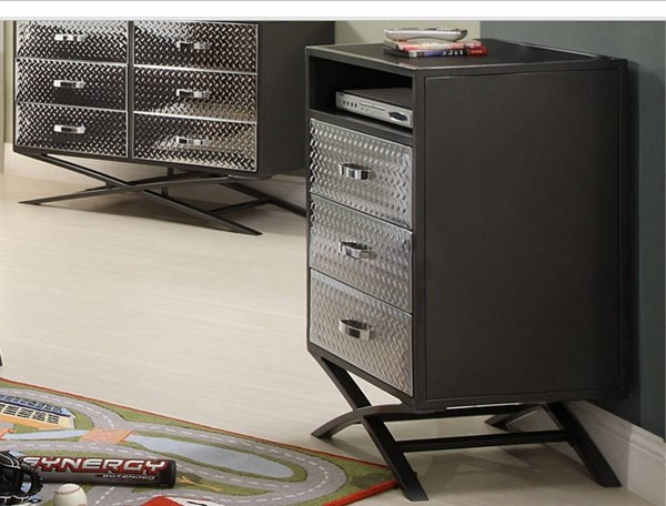 Spaced Out Chrome Grey Metal Drawer Chest HE-813-9