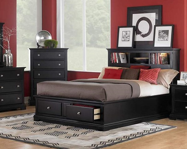 Preston Cottage Black Wood Panel Beds W/Bookcases HE-814-beds