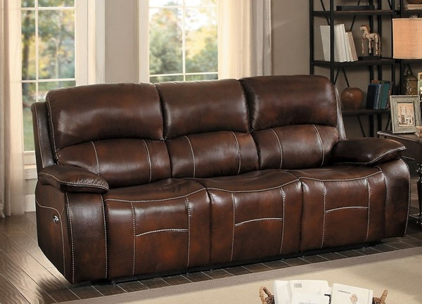 Home Elegance Mahala Brown Double Recliner Sofa HE-8200BRW-3