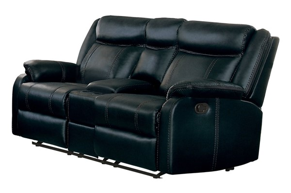 Home Elegance Jude Black Double Glider Recliner Loveseat with Console HE-8201BLK-2