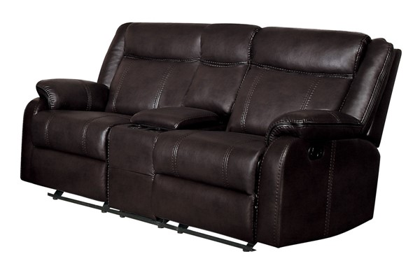 Home Elegance Jude Brown Double Recliner Loveseat with Console HE-8201BRW-2