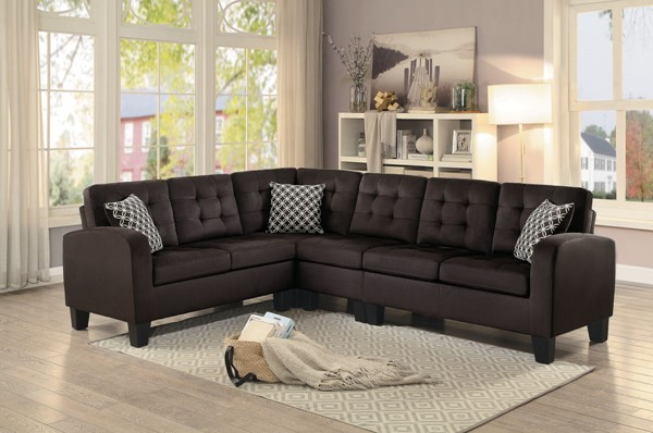 Home Elegance Sinclair Chocolate Grey Sectionals HE-8202-SEC-VAR