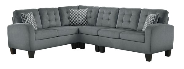 Home Elegance Sinclair Grey 2pc Sectional HE-8202GRY-SC