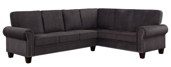 Home Elegance Cornelia Dark Grey 2pc Sectional HE-8216DG-SC