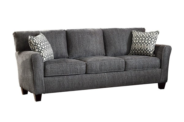 Home Elegance Alain Gray Sofa with 2 Pillows HE-8225NGY-3