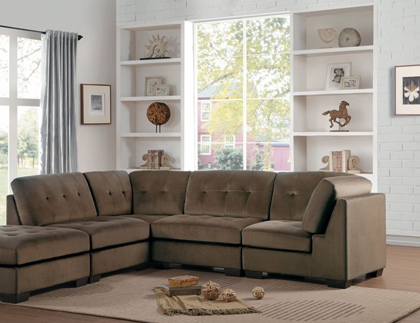 Home Elegance Savarin Dark Brown Gray 4pc Sectionals HE-8226-4PC-SEC-VAR
