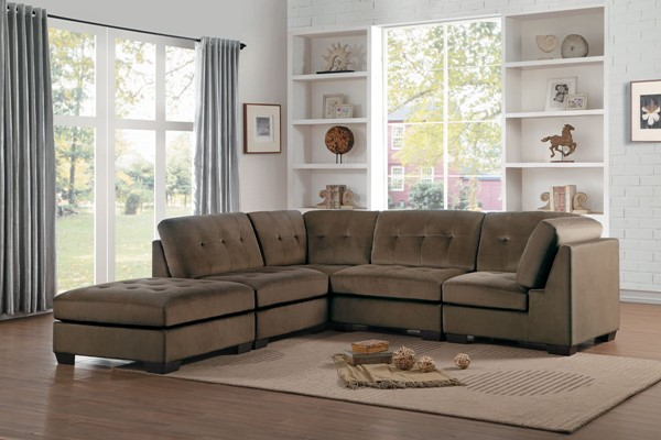 Home Elegance Savarin Dark Brown Gray 5pc Sectionals HE-8226-SEC-VAR