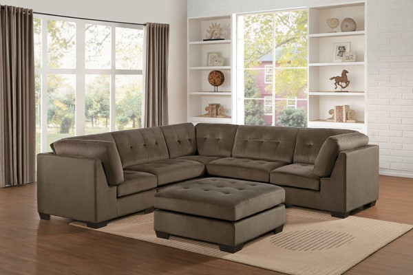 Home Elegance Savarin Dark Brown Gray 6pc Sectionals HE-8226-6PC-SEC-VAR