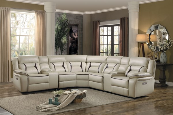 Home Elegance Amite Beige Dark Gray 7pc Sectionals HE-8229-7PC-SEC-VAR