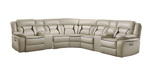 Home Elegance Amite Beige 7pc Sectional HE-8229-7PW