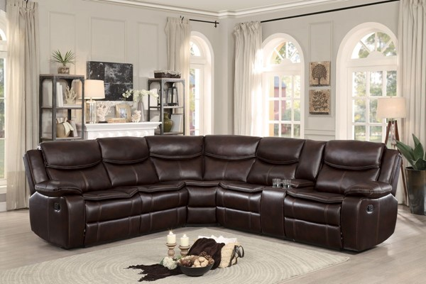 Home Elegance Bastrop Dark Brown 3pc Sectional HE-8230BRW-SC