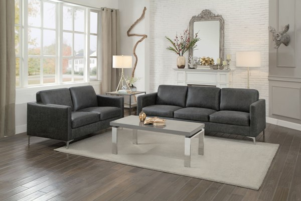 Home Elegance Breaux Gray 2pc Living Room Set HE-8235GY-2SET