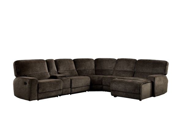 Home Elegance Shreveport Brown 6pc Sectional with Chaise HE-8238-6LCRR