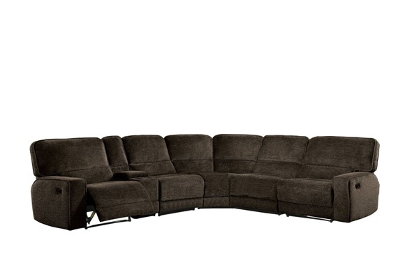 Home Elegance Shreveport Brown 6pc Sectional without Chaise HE-8238-6LRRR