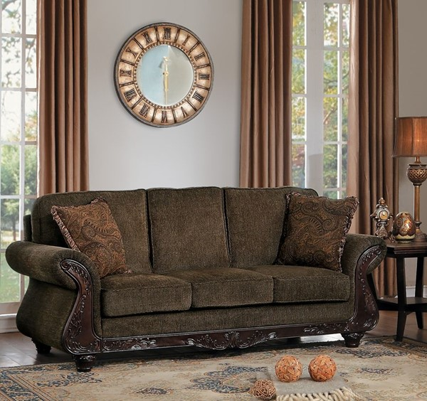 Home Elegance Mandeville Brown Sofa with 2 Pillows HE-8239-3