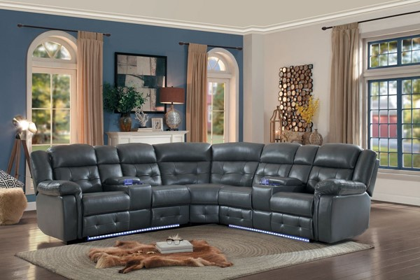 Home Elegance Kalmar Gray 3pc Sectional HE-8255GY-3SCPHD