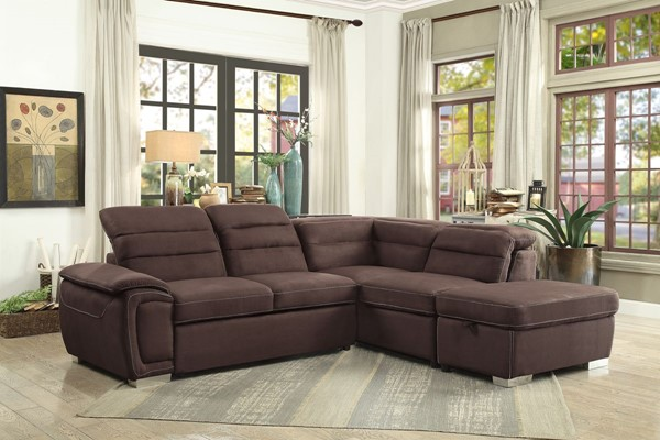 Home Elegance Platina Chocolate 3pc Sectional with Ottoman HE-8277CH