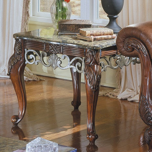 Barcelona Rich Warm Cherry Wood Marble End Table HE-829-04N