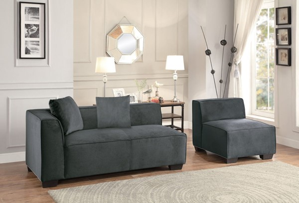 Home Elegance Metz Graphite 3pc Sectional with Armless Chair HE-8303-3AC