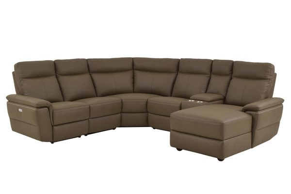 Home Elegance Olympia Raisin RAF 6pc Power Sectional HE-8308-6B1PW