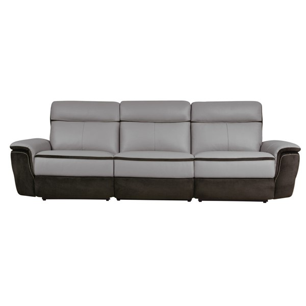 Home Elegance Laertes Taupe Gray Power Double Recliner Sofa HE-8318-3PW